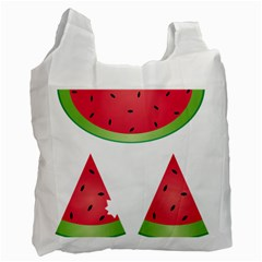 Watermelon Slice Red Green Fruite Recycle Bag (two Side)  by Mariart