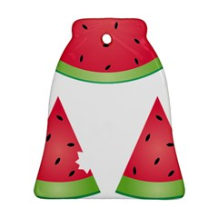 Watermelon Slice Red Green Fruite Bell Ornament (two Sides) by Mariart