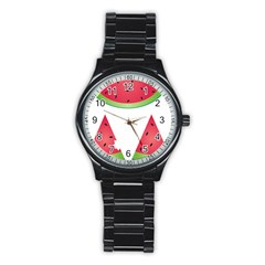 Watermelon Slice Red Green Fruite Stainless Steel Round Watch by Mariart