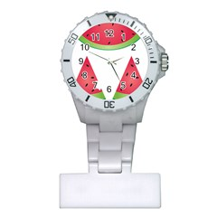 Watermelon Slice Red Green Fruite Plastic Nurses Watch by Mariart