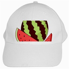Watermelon Slice Red Green Fruite Circle White Cap by Mariart