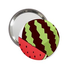 Watermelon Slice Red Green Fruite Circle 2 25  Handbag Mirrors by Mariart