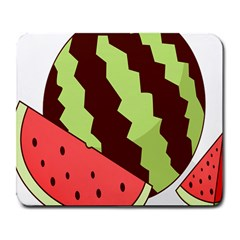 Watermelon Slice Red Green Fruite Circle Large Mousepads by Mariart