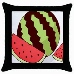 Watermelon Slice Red Green Fruite Circle Throw Pillow Case (black) by Mariart