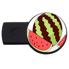 Watermelon Slice Red Green Fruite Circle Usb Flash Drive Round (2 Gb) by Mariart