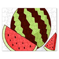 Watermelon Slice Red Green Fruite Circle Rectangular Jigsaw Puzzl by Mariart