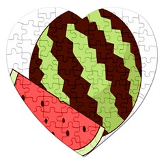 Watermelon Slice Red Green Fruite Circle Jigsaw Puzzle (heart) by Mariart