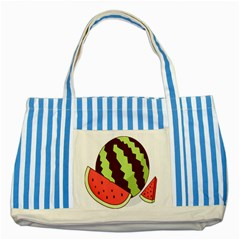 Watermelon Slice Red Green Fruite Circle Striped Blue Tote Bag by Mariart