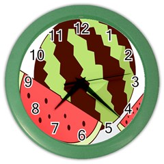 Watermelon Slice Red Green Fruite Circle Color Wall Clocks by Mariart