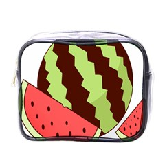 Watermelon Slice Red Green Fruite Circle Mini Toiletries Bags by Mariart