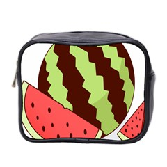 Watermelon Slice Red Green Fruite Circle Mini Toiletries Bag 2 Side by Mariart