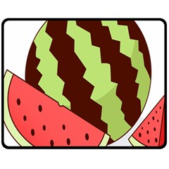 Watermelon Slice Red Green Fruite Circle Fleece Blanket (medium)  by Mariart