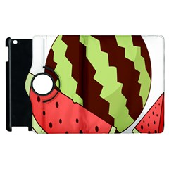 Watermelon Slice Red Green Fruite Circle Apple Ipad 3/4 Flip 360 Case by Mariart