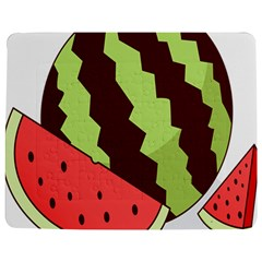 Watermelon Slice Red Green Fruite Circle Jigsaw Puzzle Photo Stand (rectangular) by Mariart