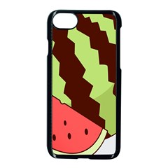 Watermelon Slice Red Green Fruite Circle Apple Iphone 7 Seamless Case (black) by Mariart