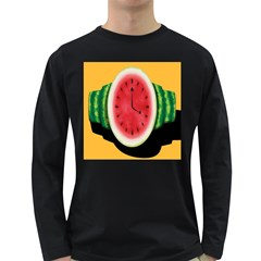 Watermelon Slice Red Orange Green Black Fruite Time Long Sleeve Dark T Shirts
