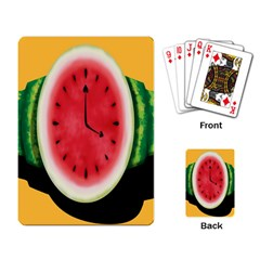 Watermelon Slice Red Orange Green Black Fruite Time Playing Card by Mariart