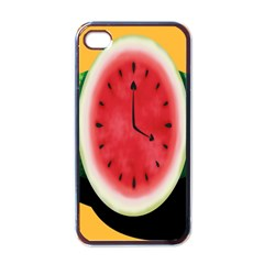 Watermelon Slice Red Orange Green Black Fruite Time Apple Iphone 4 Case (black) by Mariart