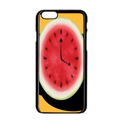 Watermelon Slice Red Orange Green Black Fruite Time Apple Iphone 6/6s Black Enamel Case by Mariart
