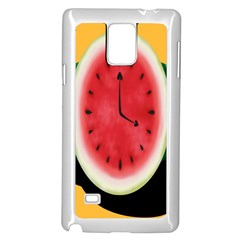 Watermelon Slice Red Orange Green Black Fruite Time Samsung Galaxy Note 4 Case (white) by Mariart