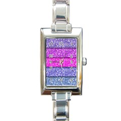 Violet Girly Glitter Pink Blue Rectangle Italian Charm Watch by Mariart