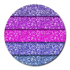 Violet Girly Glitter Pink Blue Round Mousepads by Mariart