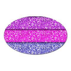 Violet Girly Glitter Pink Blue Oval Magnet by Mariart