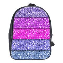 Violet Girly Glitter Pink Blue School Bags(large)