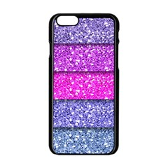 Violet Girly Glitter Pink Blue Apple Iphone 6/6s Black Enamel Case by Mariart