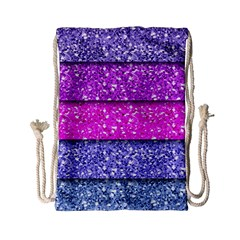Violet Girly Glitter Pink Blue Drawstring Bag (small)