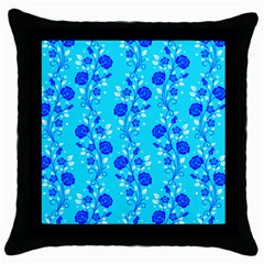 Vertical Floral Rose Flower Blue Throw Pillow Case (black) by Mariart
