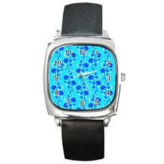 Vertical Floral Rose Flower Blue Square Metal Watch by Mariart