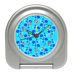 Vertical Floral Rose Flower Blue Travel Alarm Clocks by Mariart