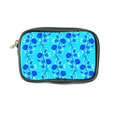 Vertical Floral Rose Flower Blue Coin Purse by Mariart