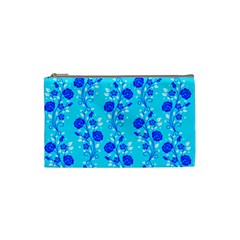 Vertical Floral Rose Flower Blue Cosmetic Bag (small)  by Mariart