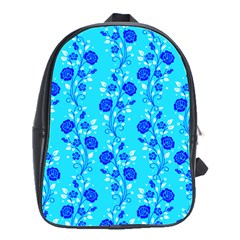 Vertical Floral Rose Flower Blue School Bags(large)