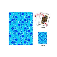 Vertical Floral Rose Flower Blue Playing Cards (mini)  by Mariart
