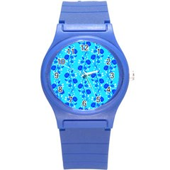 Vertical Floral Rose Flower Blue Round Plastic Sport Watch (s) by Mariart