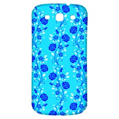 Vertical Floral Rose Flower Blue Samsung Galaxy S3 S Iii Classic Hardshell Back Case by Mariart