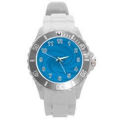 Whirlpool Hole Wave Blue Waves Sea Round Plastic Sport Watch (l)