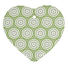 Wood Star Green Circle Heart Ornament (two Sides) by Mariart