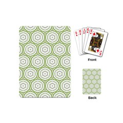Wood Star Green Circle Playing Cards (mini)  by Mariart