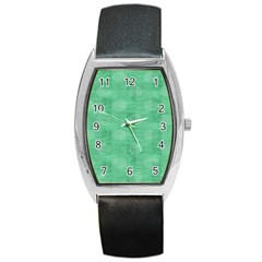 Polka Dot Scrapbook Paper Digital Green Barrel Style Metal Watch by Mariart