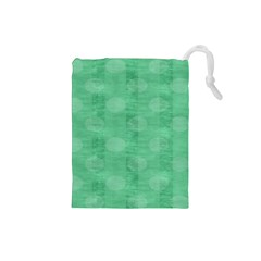 Polka Dot Scrapbook Paper Digital Green Drawstring Pouches (small)  by Mariart