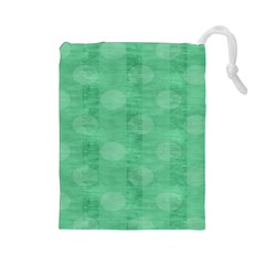Polka Dot Scrapbook Paper Digital Green Drawstring Pouches (large)  by Mariart