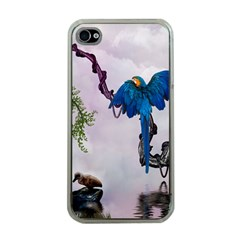 Wonderful Blue Parrot In A Fantasy World Apple Iphone 4 Case (clear) by FantasyWorld7