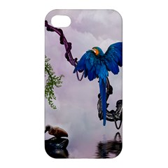 Wonderful Blue Parrot In A Fantasy World Apple Iphone 4/4s Premium Hardshell Case by FantasyWorld7
