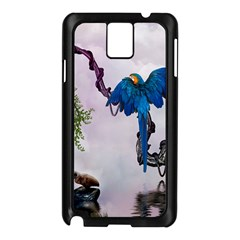 Wonderful Blue Parrot In A Fantasy World Samsung Galaxy Note 3 N9005 Case (black) by FantasyWorld7