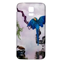 Wonderful Blue Parrot In A Fantasy World Samsung Galaxy S5 Back Case (white) by FantasyWorld7