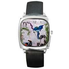 Wonderful Blue Parrot In A Fantasy World Square Metal Watch by FantasyWorld7